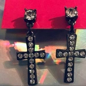 Crystal rhinestone cross earrings Betsey Johnson